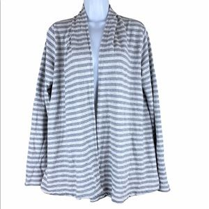Theory Cotton Open Front Striped Cardigan L